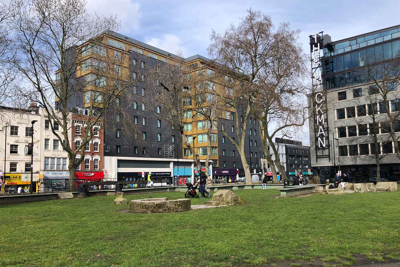 Altab Ali Park facing Whitechapel Road, East London