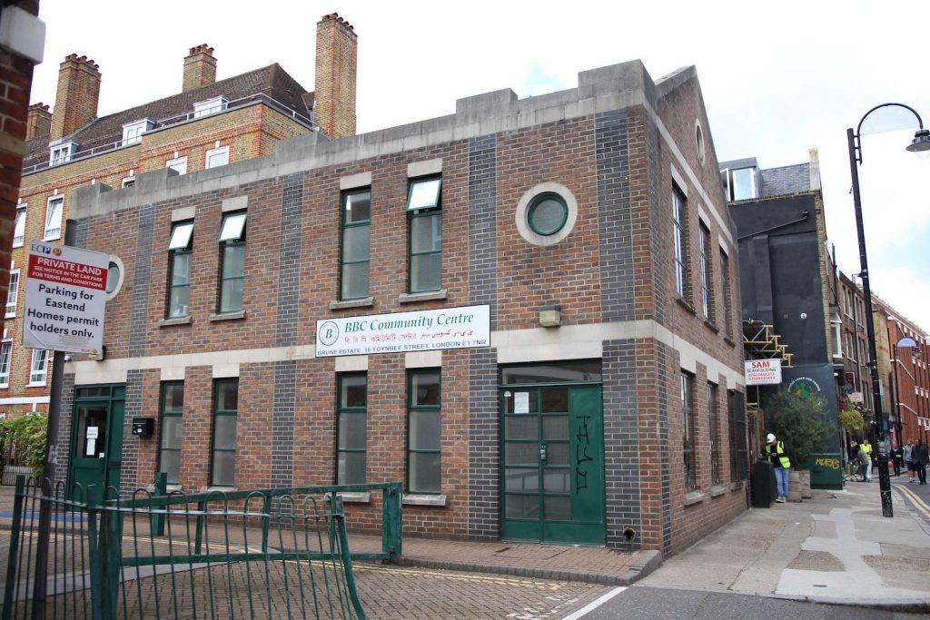 The BBC Community Centre building on Toynbee Street, Whitechapel, East London.