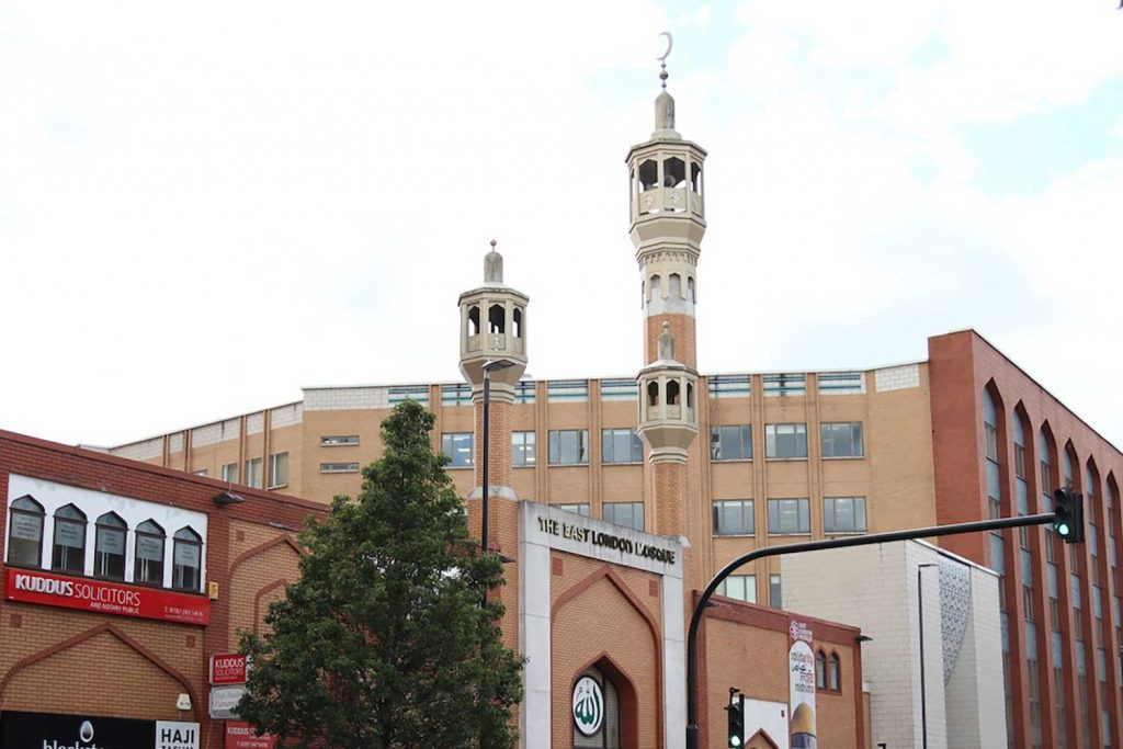 The East London Mosque on Whitechapel Road, East London.