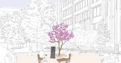 An illustration of the Covid memorial garden planned by TfL for Aldgate, Whitechapel.