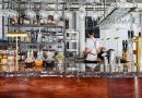 A shot of the bartender working behind the bar, The Buxton, Whitechapel.